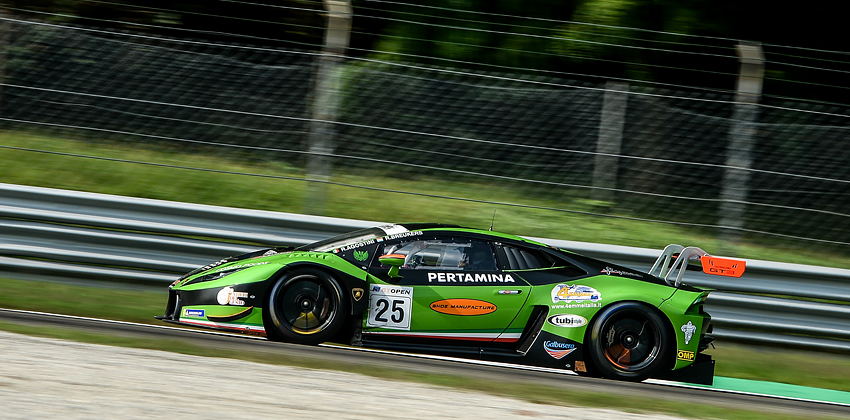 Imperiale Racing taking the win in Pro-Am in Monza with Giammaria-Liang. Podium with Venturini-Mul and Agostini-Breukers